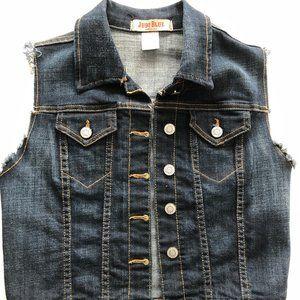 JUDY BLUE blue jean sleeveless jacket